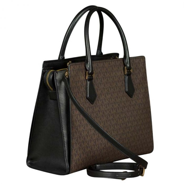 Michael Kors Large Hope Satchel in Brown Black