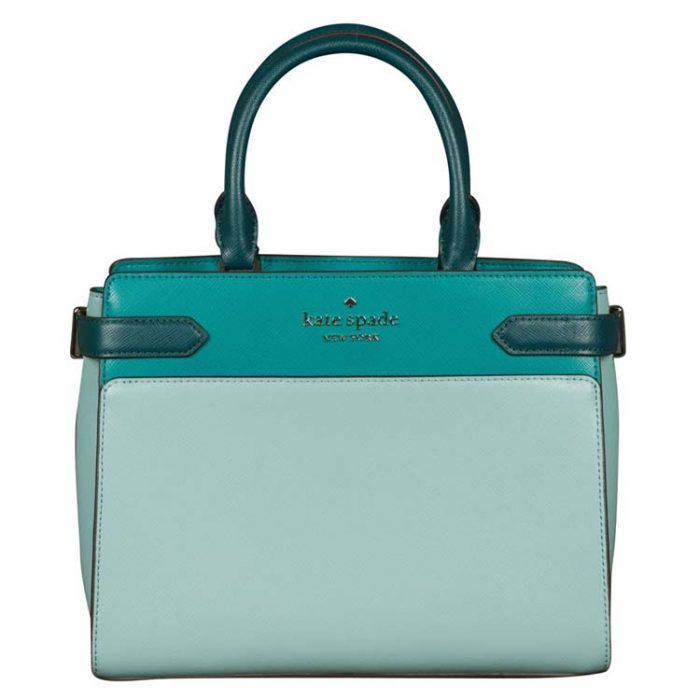 Kate Spade Medium Staci Colorblock Satchel in Frosted Spearmint