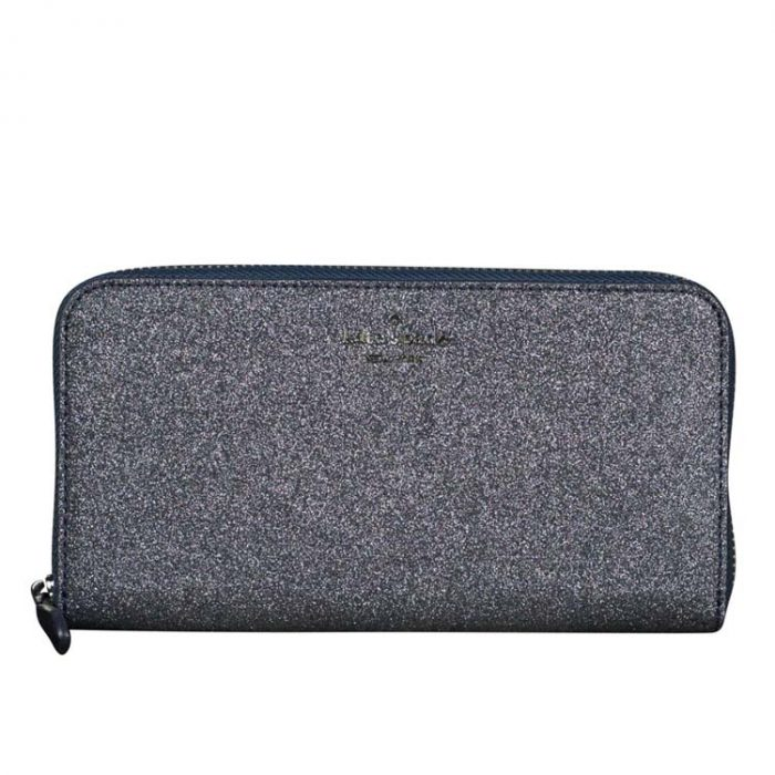 Kate Spade Lola Glitter Continental Wallet in Dusk Navy