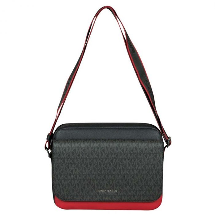 Michael Kors Cooper Flap Camera Bag in Black Crimson