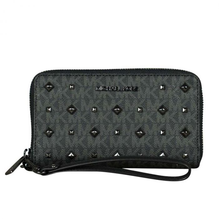 Michael Kors Large Jet Set Studded Phone Case in Black