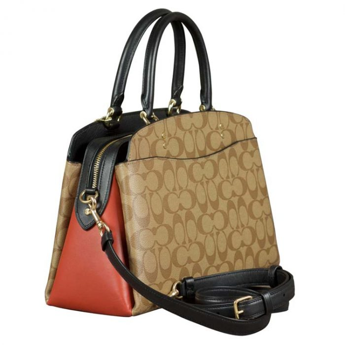 Coach Signature Colorblock Lillie Carryall in Khaki Multi