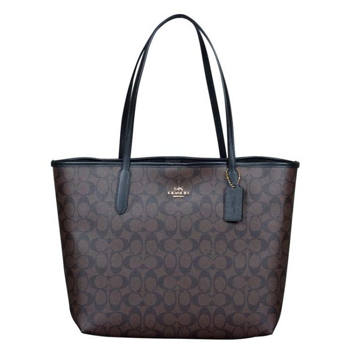 Coach Signature City Tote in Brown Black