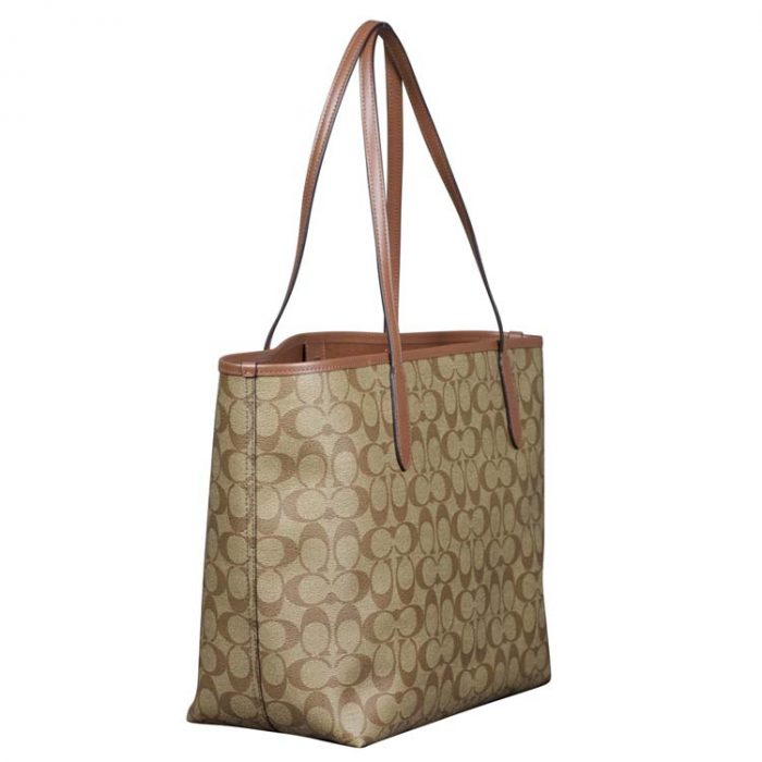 Coach Signature City Tote in Khaki Saddle
