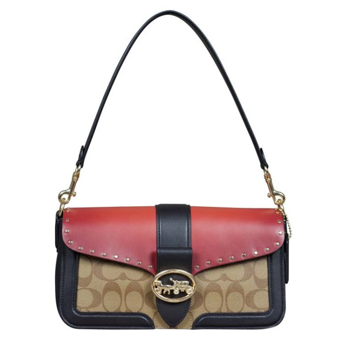 Coach Signature Colorblock Rivet Georgie Shoulder Bag