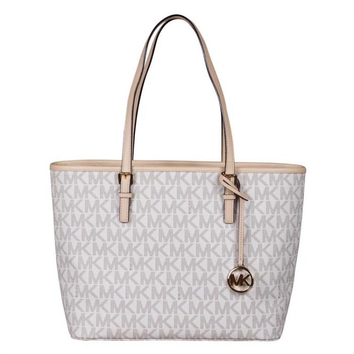 Michael Kors Jet Set Travel Top Zip Tote in Vanilla