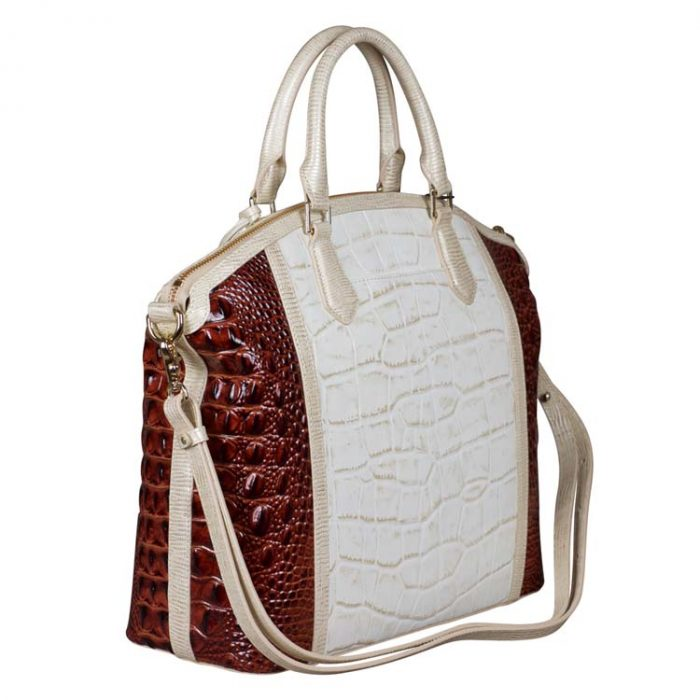 Brahmin Large Duxbury Satchel in Light Gold Brinkley