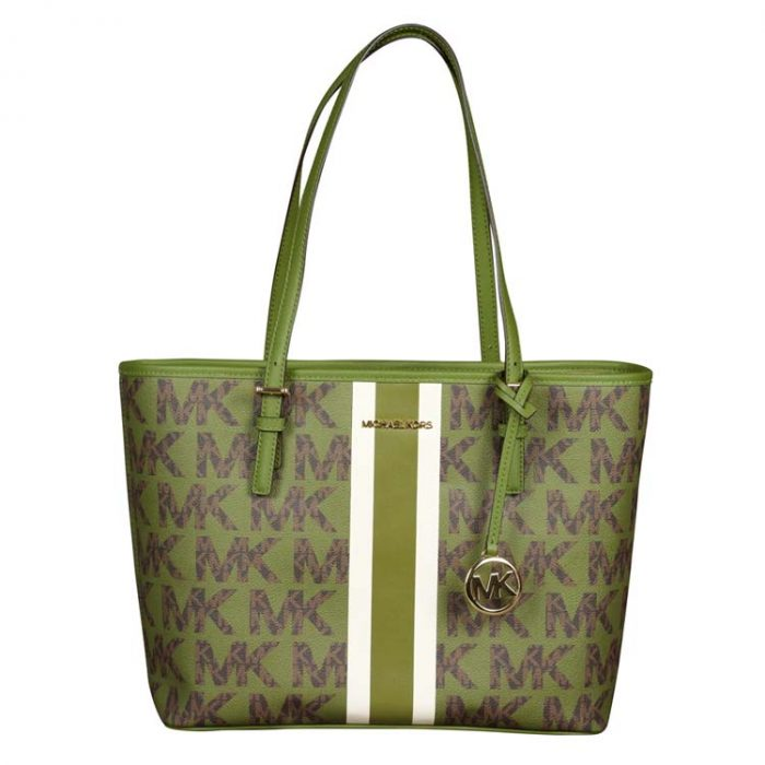 Michael Kors Jet Set Travel Carryall Tote in Evergreen
