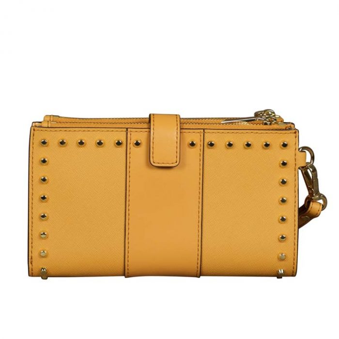 Michael Kors Double Zip Leather Wristlet in Cider