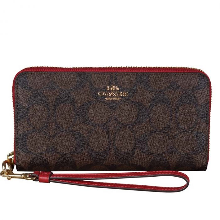 Coach Signature Long Wallet Wristlet in Brown 1941 Red