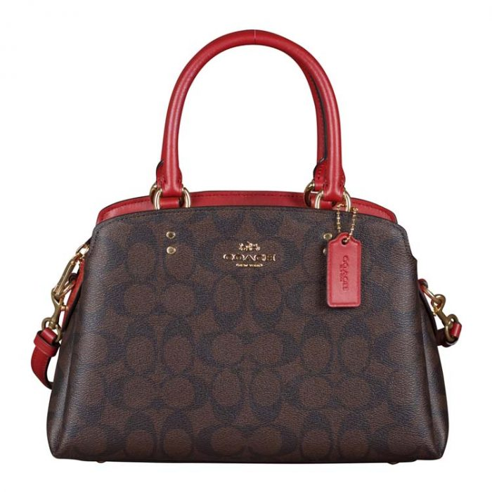 Coach Signature Mini Lillie Carryall in Brown 1941 Red