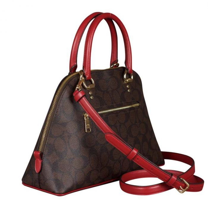 Coach Signature Katy Satchel in Brown 1941 Red
