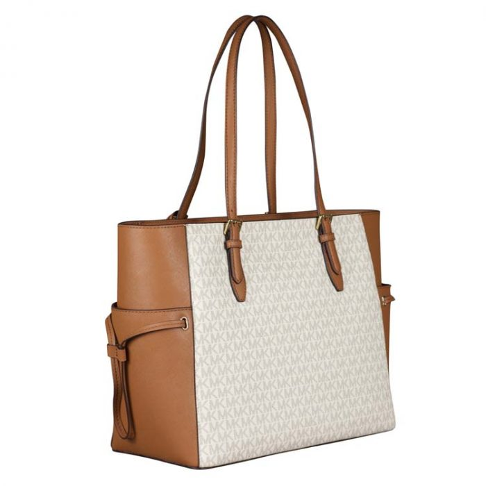 Michael Kors Large Drawstring Gilly Travel Tote in Vanilla