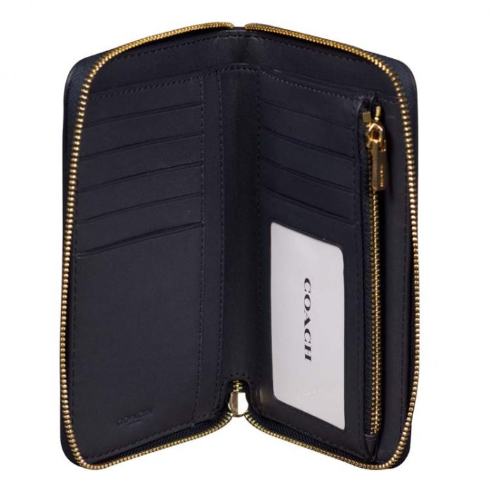 Coach Medium Signature Striped Zip Around Wallet
