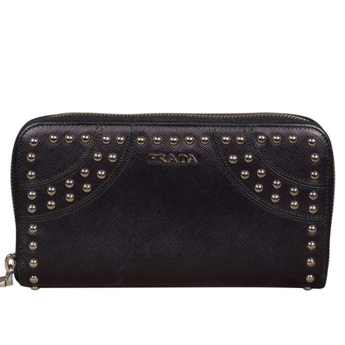 Prada Studded Black Leather Wallet
