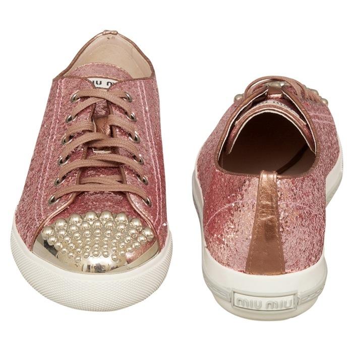 Miu Miu Glitter Lux Calzature Donna Stud Sneakers
